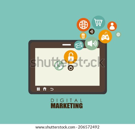 Marketing design over blue background, vector illustration