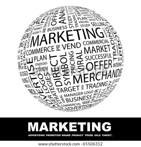 MARKETING. Globe with different association terms. - stock vector
