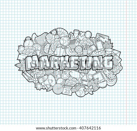 Marketing - Hand Lettering and Doodles Elements Sketch on Exercise book  page in square Background. Vector illustration