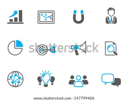 Marketing icons in duo tone colors - stock vector