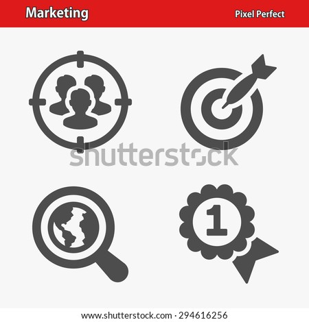 Marketing Icons. Professional, pixel perfect icons optimized for both large and small resolutions. EPS 8 format. - stock vector