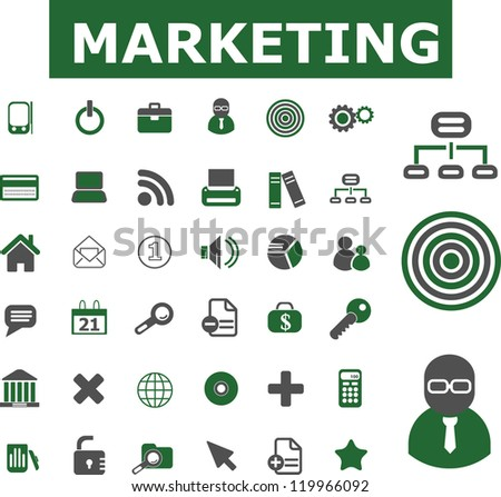 marketing icons set, vector - stock vector