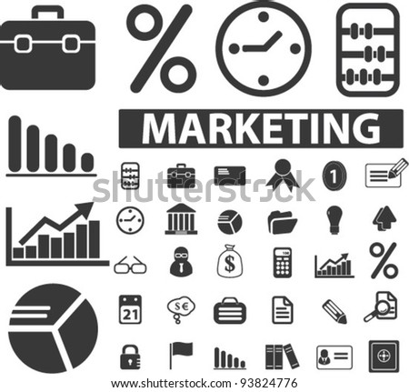 marketing icons set, vector illustrations - stock vector