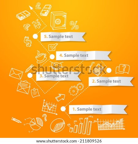 Marketing infographic concept, timeline and hand drawn business doodles vector - stock vector