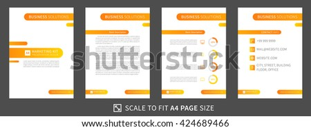 Marketing kit presentation vector vertical template. Modern business presentation creative design. Power layout with diagrams and charts. Marketing kit vertical A4 template. Easy to edit and print. - stock vector