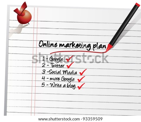 Marketing plan - Online Marketing Plan - stock vector