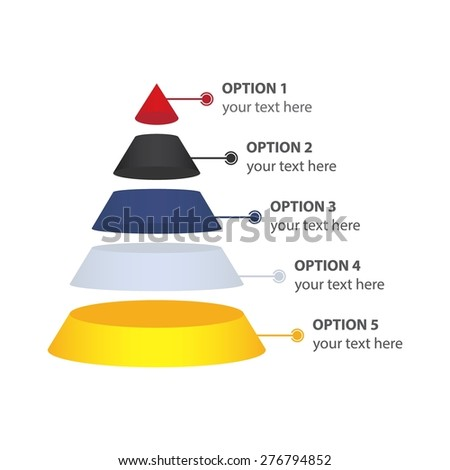 Marketing Pyramid, isolated on white - Vector Infographic - stock vector