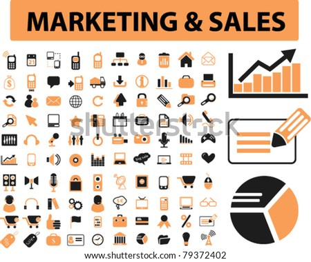 marketing & sales icons, signs, vector illustrations - stock vector