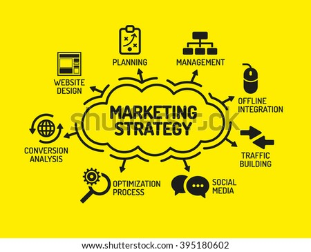Marketing Strategy. Chart with keywords and icons on yellow background - stock vector