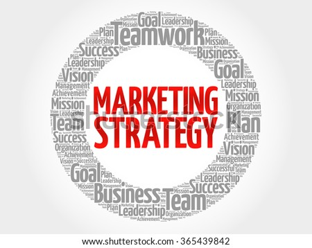 Marketing Strategy circle word cloud, business concept - stock vector