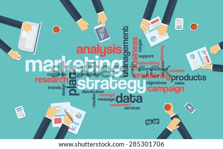 Marketing strategy concept infographics. Word cloud with marketing keywords. Creative team developing branding plan. Eps10 vector illustration. - stock vector