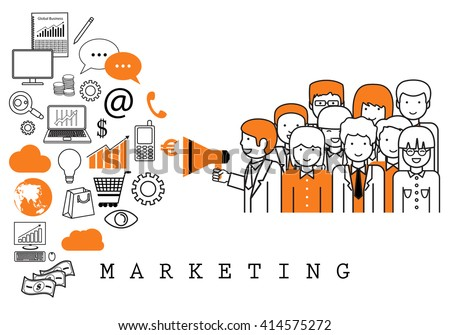 Marketing Team-On White Background-Vector Illustration,Graphic Design.Business Concept - stock vector