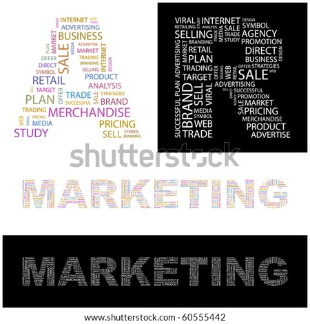 MARKETING. Word collage. Illustration with different association terms. - stock vector