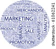 MARKETING. Word collage on white background. Illustration with different association terms. - stock photo