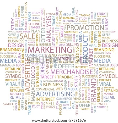 MARKETING. Word collage on white background. Illustration with different association terms. - stock vector