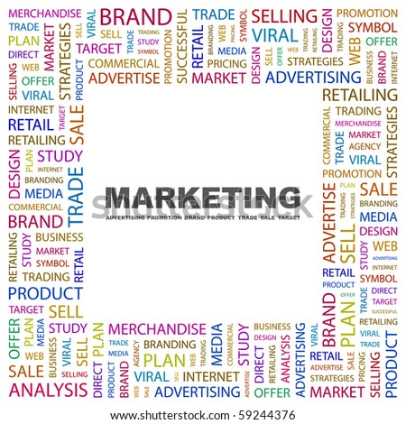 MARKETING. Word collage on white background. Illustration with different association terms.