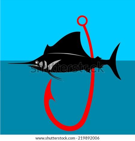 Marlin fish label vector - stock vector