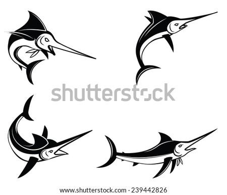 Marlin Fish Symbol Set Collection - stock vector