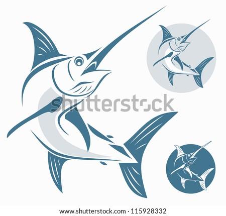 Marlin fish - vector illustration - stock vector