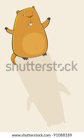 Marmot on the background. Vector illustration - stock vector