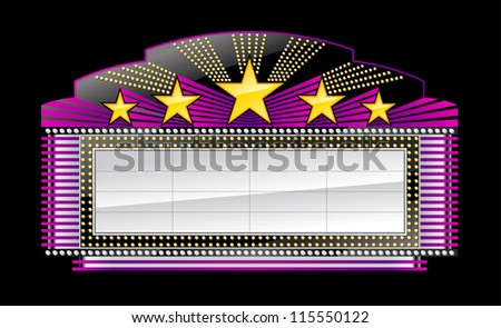 Marquee banner with neon isolated on black - stock vector