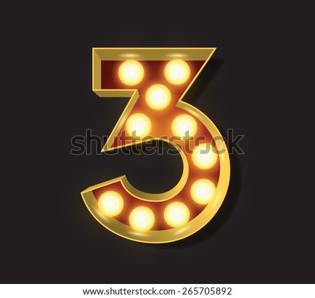 Marquee Light Letter - Vector - 3 - stock vector