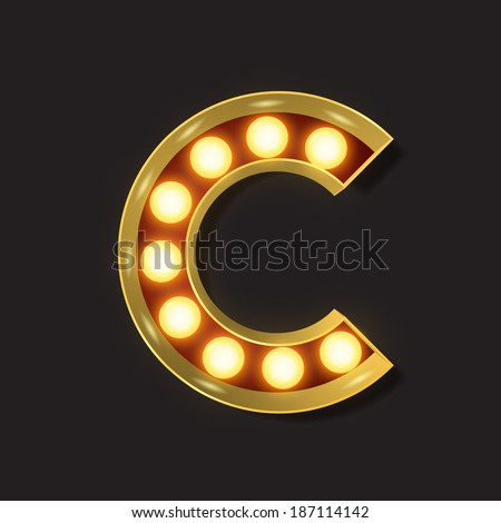 Marquee Light Letter - Vector - C - stock vector