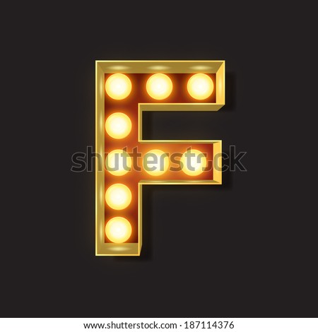 Marquee Light Letter - Vector - F - stock vector