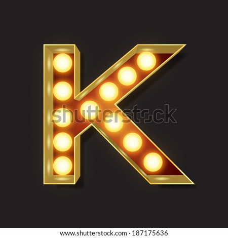 Marquee Light Letter - Vector - K - stock vector