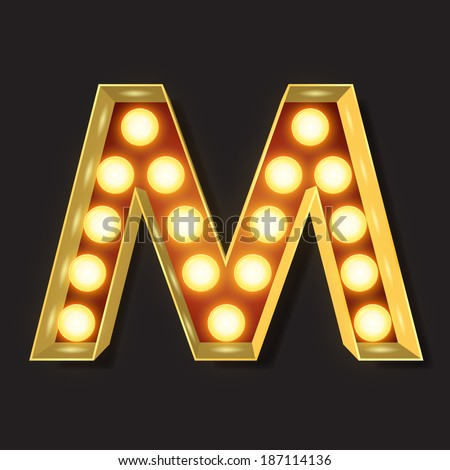 Marquee Light Letter - Vector - M - stock vector