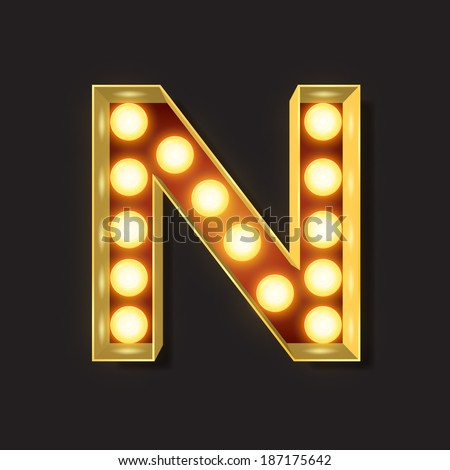 Marquee Light Letter - Vector - N - stock vector