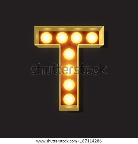 Marquee Light Letter - Vector - T - stock vector