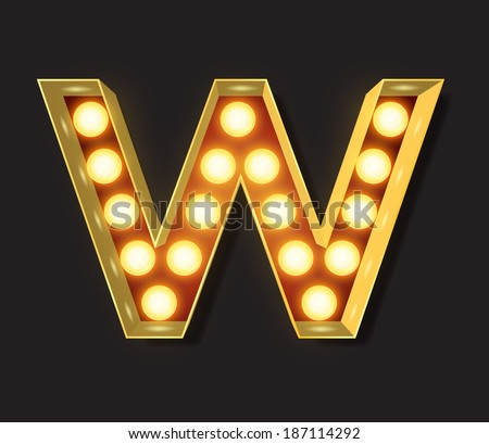 Marquee Light Letter - Vector - W - stock vector