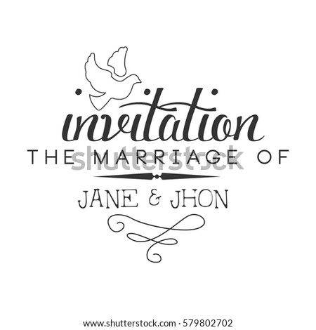 Marriage black white invitation card design stock vector 579802702 marriage black and white invitation card design template with calligraphic text with dove stopboris Gallery