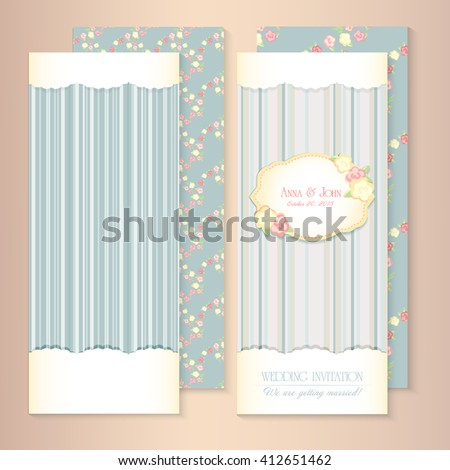 Marriage invitation card set. shabby chic wedding invitation. Vector illustration. Floral Save the Date or wedding  set. English style. golden frame with roses - stock vector