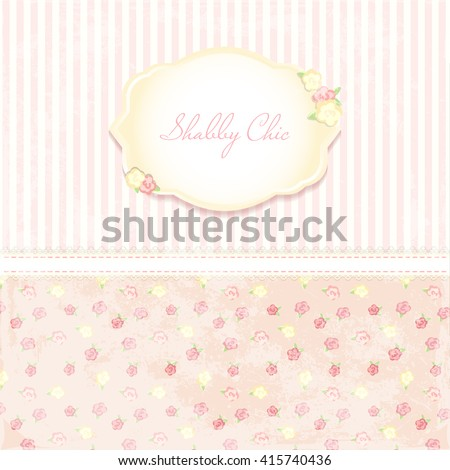 Marriage invitation card. shabby chic wedding invitation. Vector illustration. Floral Save the Date or wedding  set. English style. golden frame - stock vector