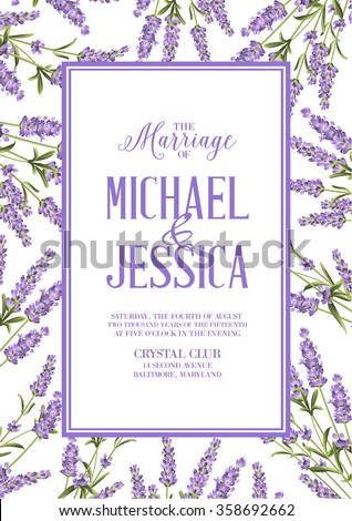Marriage invitation card with custom sign and flower frame. Lavender frame for provence card. Printable vintage marriage invitation with flowers over white. Lavender sign label. Vector illustration.