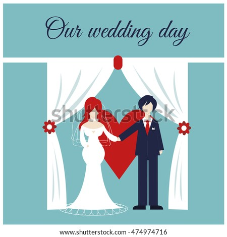 Married couple. Bride and groom. Vector illustration for web use and printing (invitation cards). Flat design.