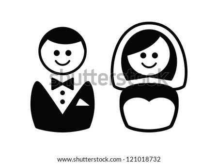 Married Couple Icons Groom Bride Stock Vector Royalty Free