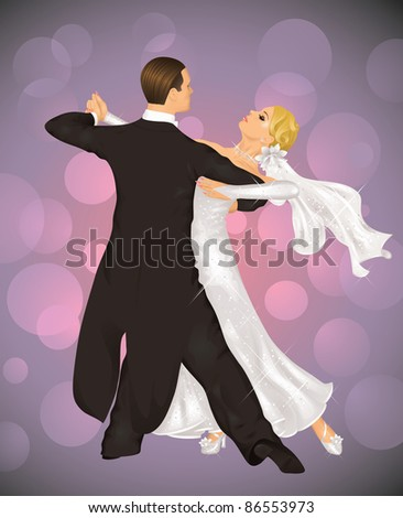 Married couple is tango dancing on the purple background. - stock vector