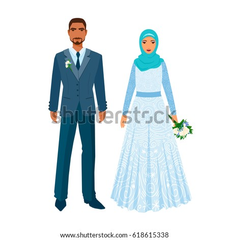 Married couple people middle east religious stock vector 618615338 married couple of people from middle east in the religious clothing islamic muslim man sciox Images