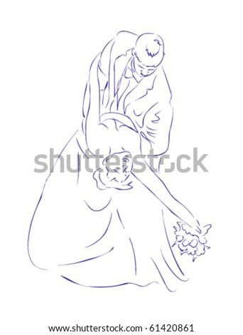 Married couple wedding vector - stock vector