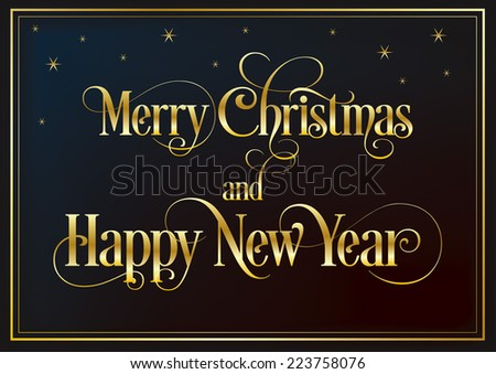 Marry Christmas and Happy New Year - stock vector