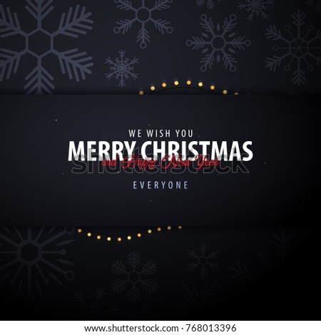Marry Christmas and Happy New Year banner on dark background with snowflakes and gift boxes. Vector illustration