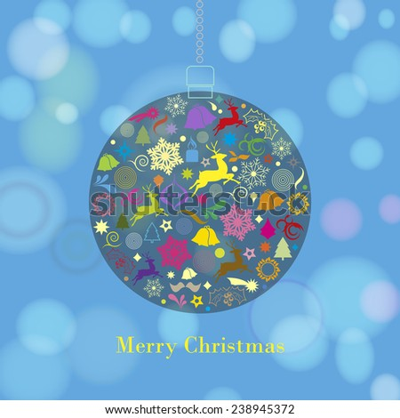 Marry Christmas ball and more design elements - vector background - stock vector