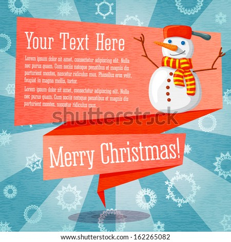 Marry Christmas cute retro banner on the craft paper texture with snowman, with merry christmas greeting and place for your text.  - stock vector