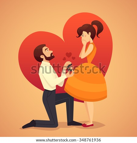 Marry me illustration for valentines day - stock vector