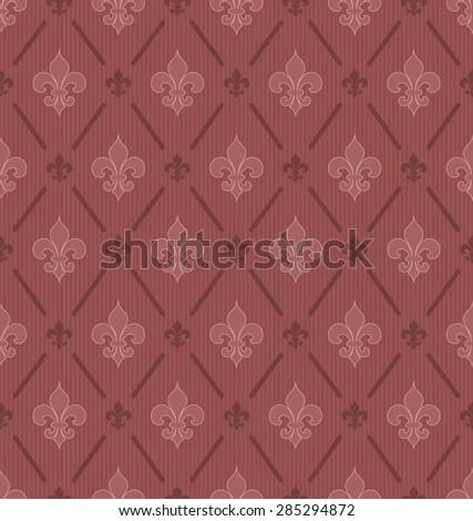 Marsala color Fleur De Lis classical wallpaper. Vector seamless background. - stock vector