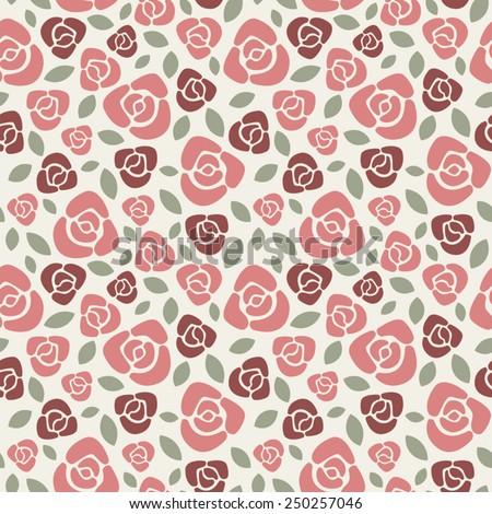 Marsala roses floral vector seamless pattern. - stock vector