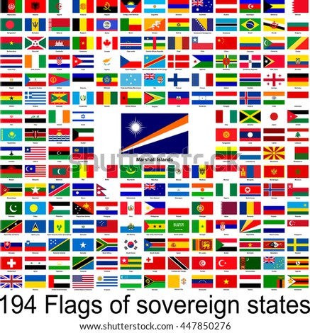 Marshall Islands, collection of vector images of flags of the world